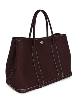 Hermes Red Burgundy Leather Tote Garden Party 30cm Handbag 2