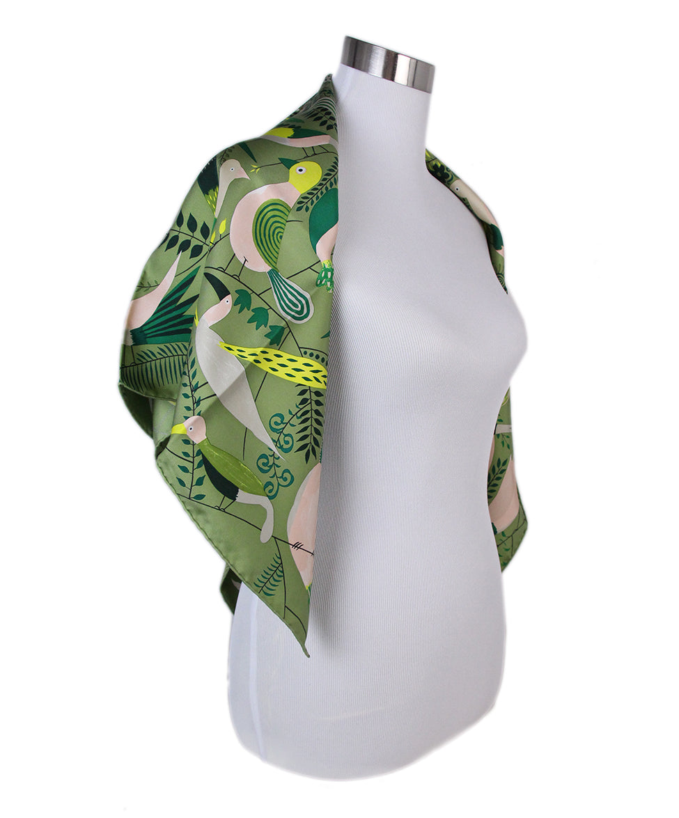 Hermes green bird scarf 2