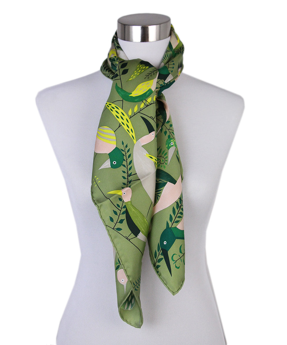 Hermes green bird scarf 3
