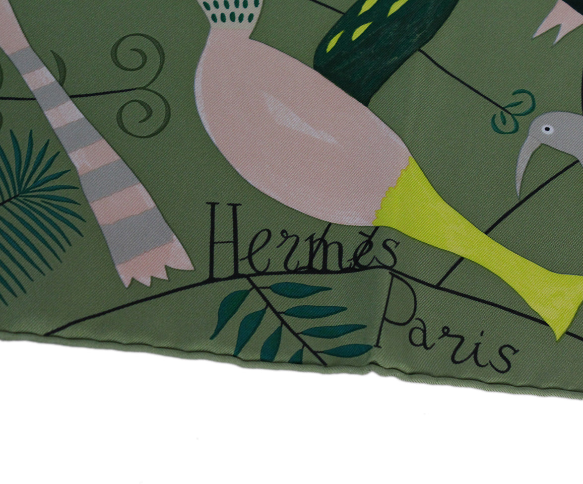 Hermes green bird scarf 5