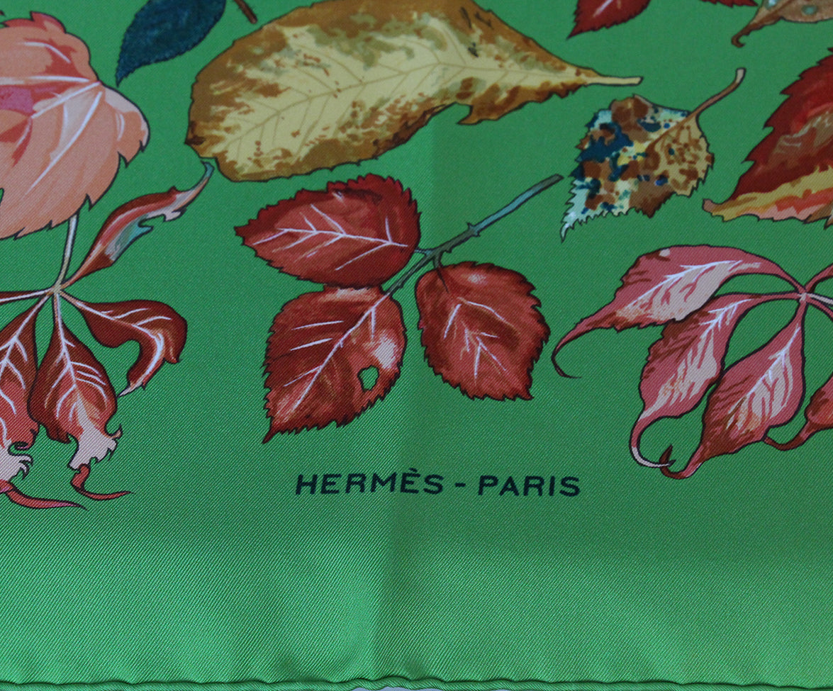 Hermes green leaves scarf 4