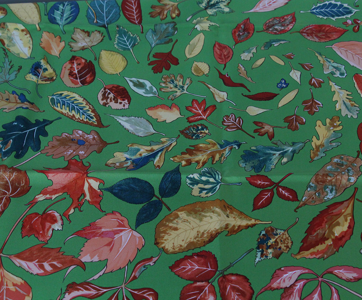 Hermes green leaves scarf 5