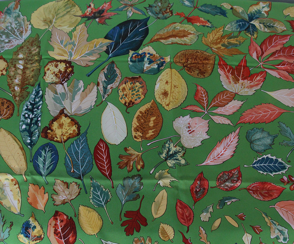 Hermes green leaves scarf 6