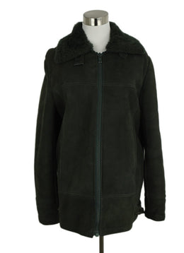 Hermes Green Shearling Coat 1