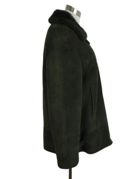 Hermes Green Shearling Coat 2