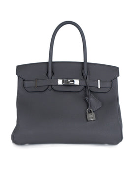 Hermes Grey Leather Blue Lining 30cm Birkin Handbag 1