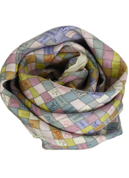 Hermes Basket Weave Ivory, Pink, and Blue Silk Scarf | Hermes