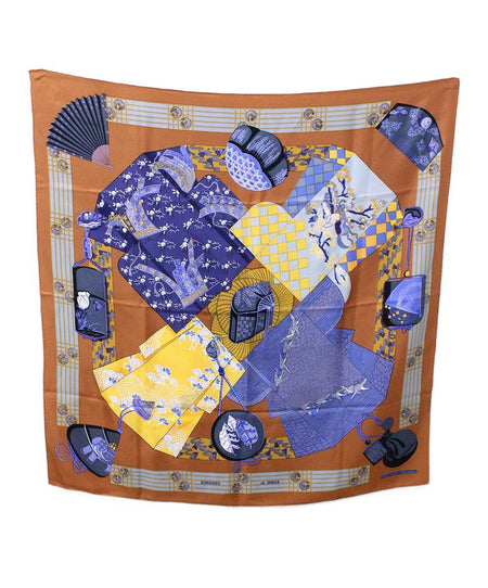 Hermes 'Feu de Route' Black Gold Silk Scarf