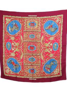 Hermes Red Blue Tan Silk Scarf 2