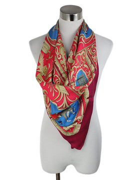 Hermes Red Blue Tan Silk Scarf 1