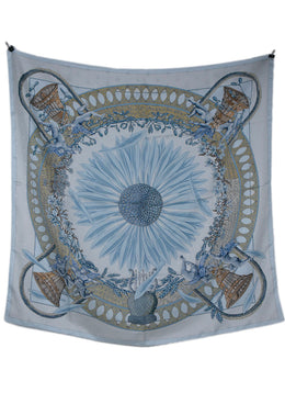 Hermes Light Blue Gold Silk Print Beaucoun Un Peu Scarf 1