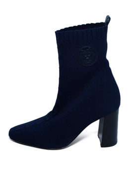 Hermes Blue Navy Viscose Knit Spandex Booties 2