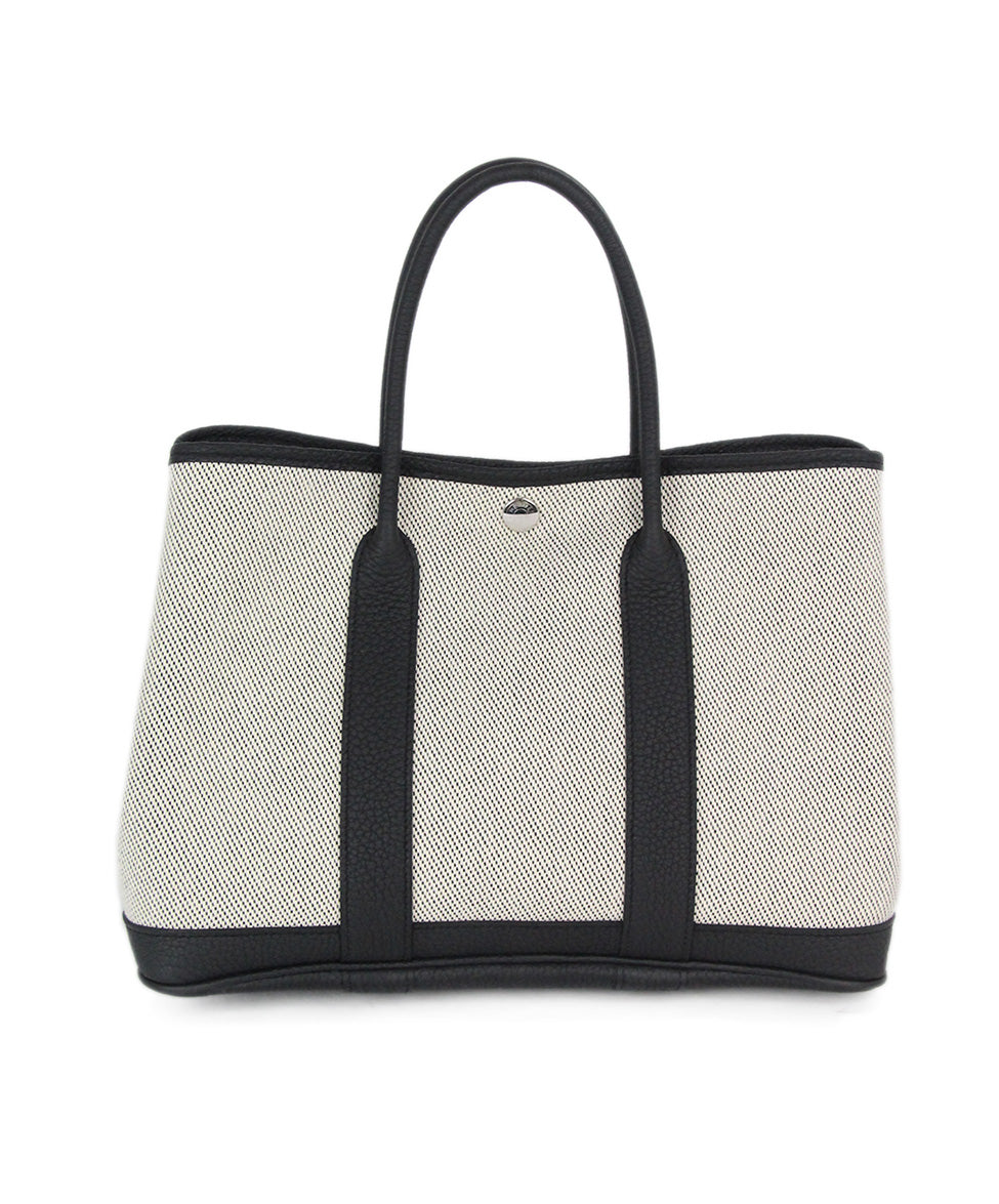 Hermes neutral black canvas garden party 30cm bag 1