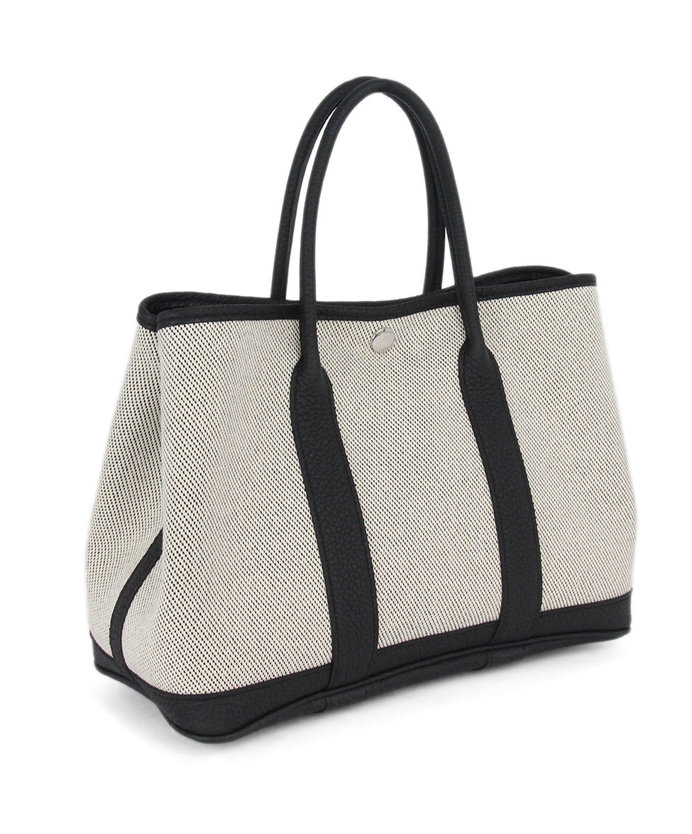 Hermes neutral black canvas garden party 30cm bag 2