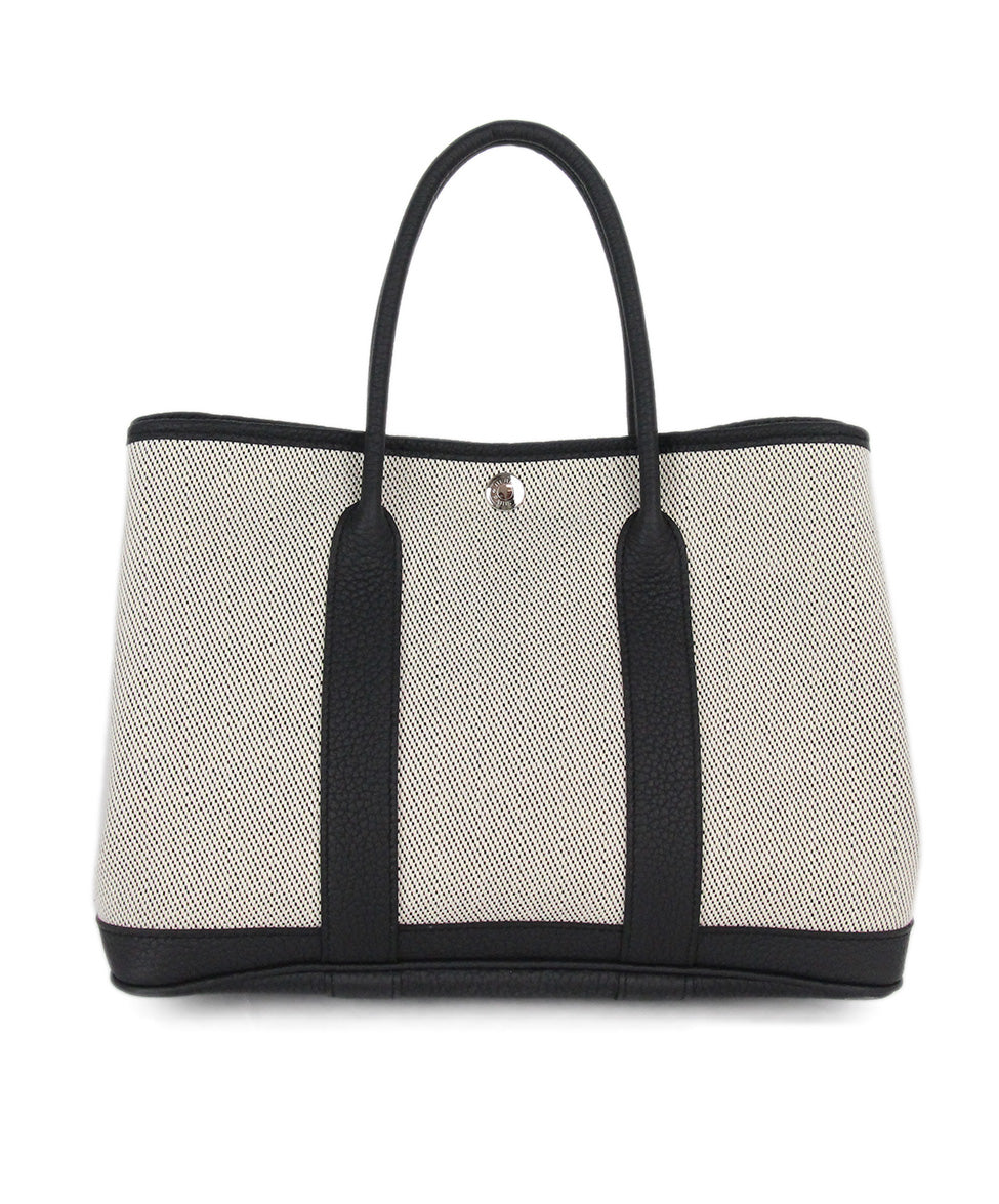 Hermes neutral black canvas garden party 30cm bag 3