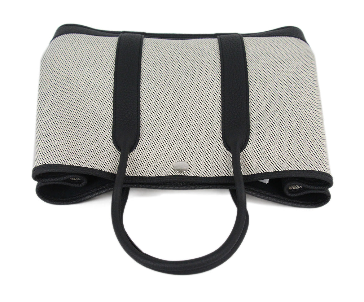 Hermes neutral black canvas garden party 30cm bag 5