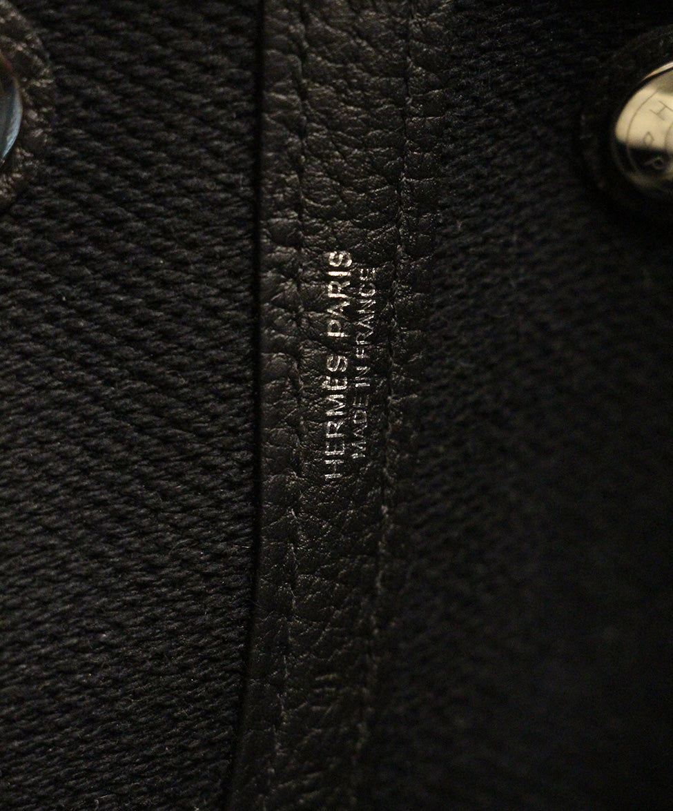 Hermes neutral black canvas garden party 30cm bag 7
