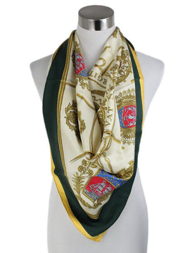 Hermes Neutral Ivory Green Yellow Silk Scarf 1