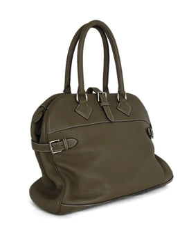 Hermes Taupe Pebbled Leather Satchel Handbag with Dust Bag | Hermes