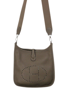 Crossbody Silver Hardware Hermes Neutral Taupe Pebbled Leather Handbag 2