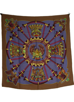 Hermes Egyptian Motif Taupe and Periwinkle Silk Scarf | Hermes
