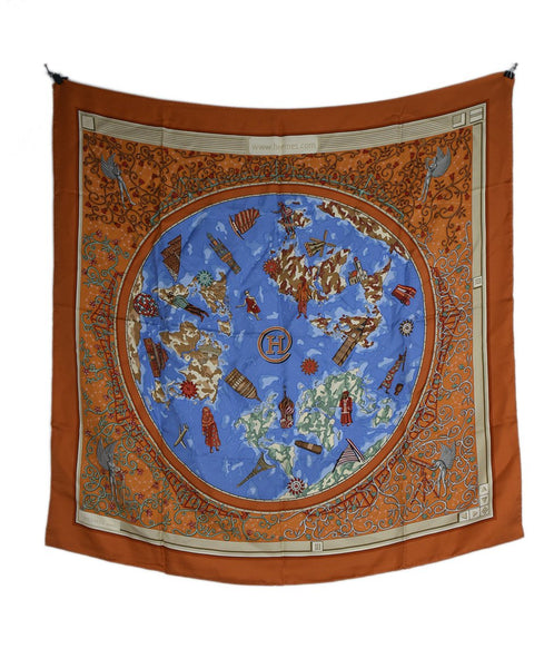 Hermes Orange Blue Print Silk World print Scarf 2