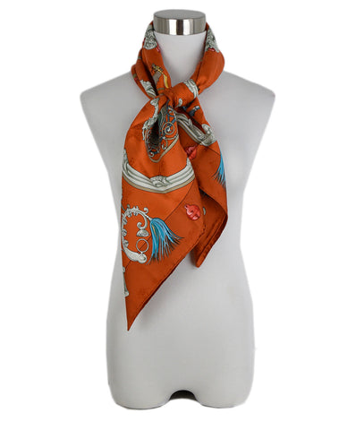 Hermes Orange Grey Print Silk Scarf 3