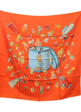 Hermes 'Paris Modiste' Orange Silk Scarf
