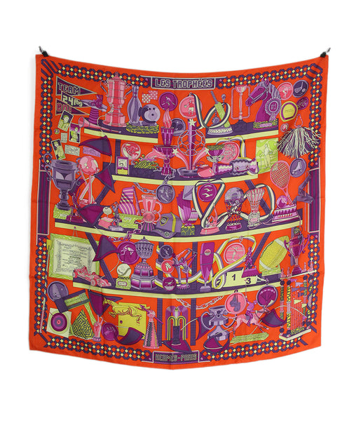 Hermes orange purple yellow les trophees scarf 4