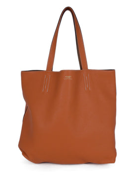 Hermes Orange Tan Leather Reversible Tote Handbag 1