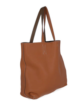 Hermes Orange Tan Leather Reversible Tote Handbag 2