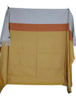 Hermes Orange Yellow White Linen Throw Blanket 2