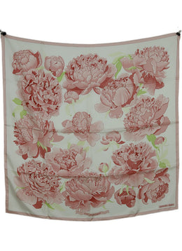 Hermes Pink Green Floral Silk Print W/Box Scarf 2