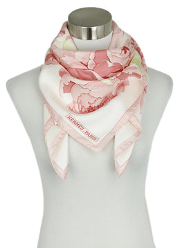 Hermes Pink Green Floral Silk Print W/Box Scarf 1