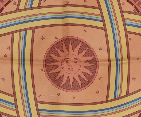 "Hermes ""Donner La Main"" Pink, Orange, and Yellow Silk Scarf 