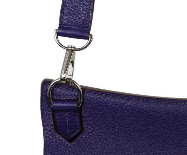 Hermes Purple Clemence Leather Jypsiere 31 CM Crossbody Handbag
