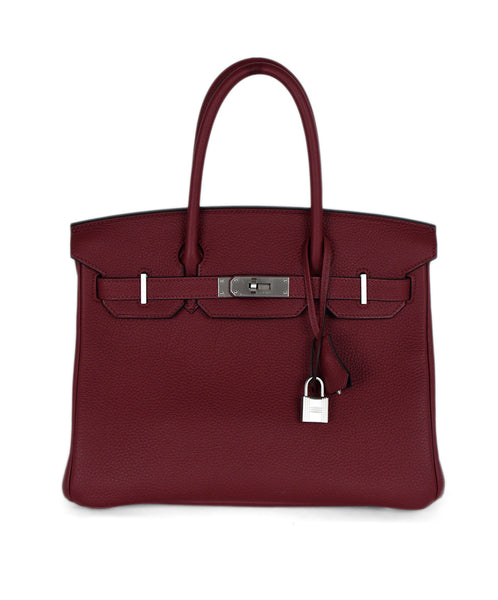Hermes Red Rasberry Leather Navy Lining Custom 30cm Birkin Handbag 1