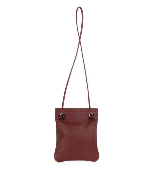 Hermes red burgundy leather aline mini bag 1