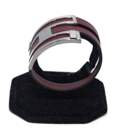 Hermes Red Burgundy Leather Silver Hardware Jewelry Bracelet 1