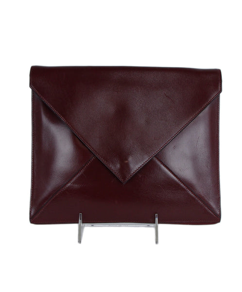 Hermes Red Burgundy Leather Leather Portfolio Clutch 1