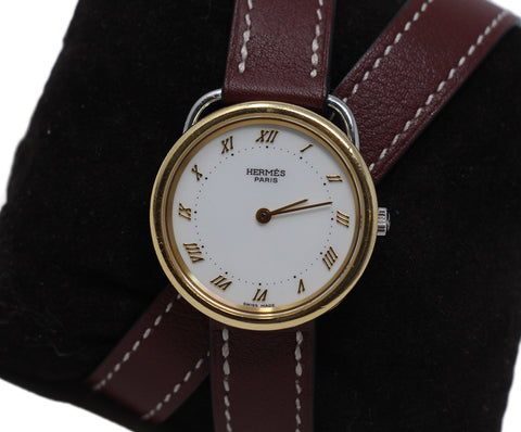 Hermes red leather arceau watch 1