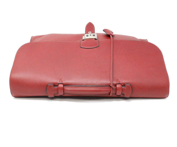 Hermes Red Leather Briefcase