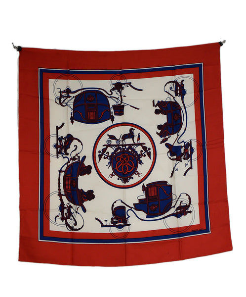 Hermes Red White Blue Print Silk Scarf 3