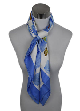 Hermes White Blue Silk Les Capucines Scarf 1