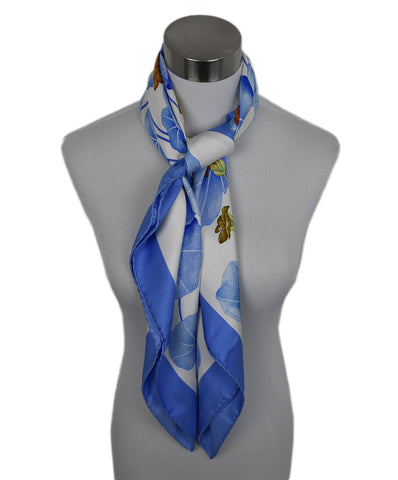 Hermes White Blue Silk Les Capucines Scarf 2