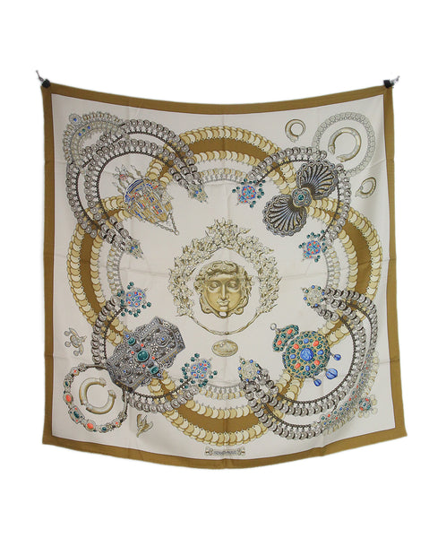Hermes white gold blue coral scarf 5