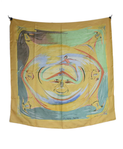 Hermes Yellow Green Print Silk Smiles in Third Millenary Scarf 2