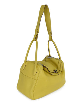 Hermes Yellow Leather Satchel Handbag 2