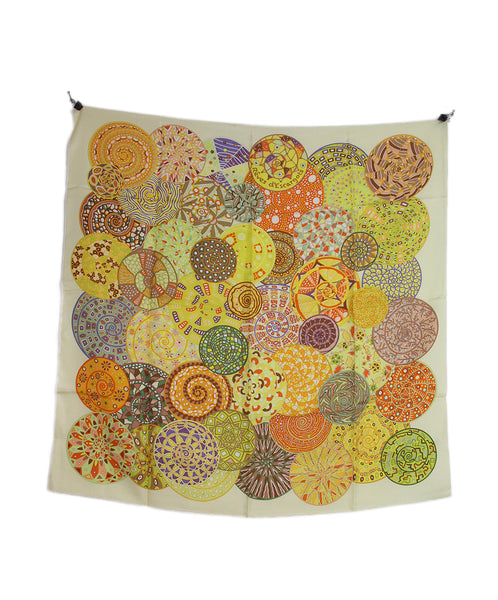 Hermes yellow orange lilac Reves D'escargots scarf 4