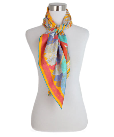 Hermes yellow red aqua Sonnid Chacun Scarf 3